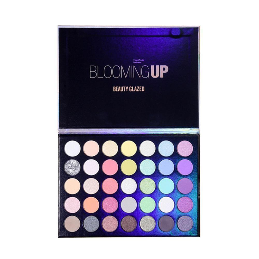 Beauty Glazed Blooming maquillaje profesional colorido sombra de ojos maquillaje 35 brillante mate colorido sombra de ojos brillante polvo sedoso