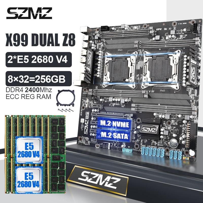 SZMZ X99 المزدوج اللوحة كومبو مع 2 قطعة Xeon E5 2680 V4 وحدة المعالجة المركزية 8*32 جيجابايت DDR4 RAM عدة