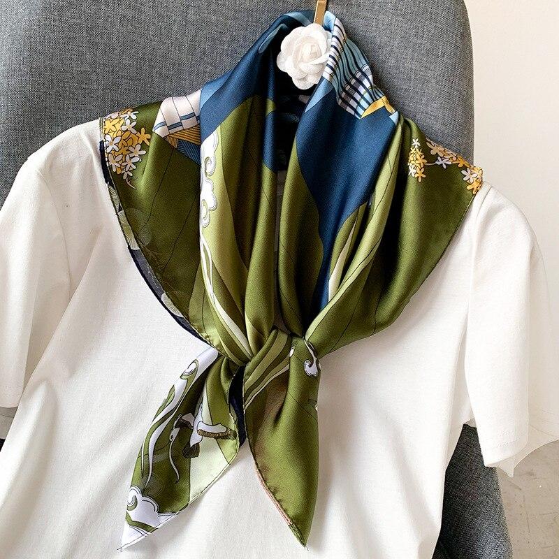 Small Kerchief Bandana Head Scarf For Women Fashion Print Silk Satin Neck Scarfs Female 70cm*70cm Headband Bag Scaves For Ladies
