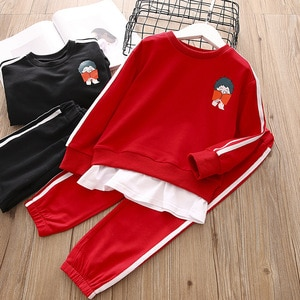 Children's Clothing Spring 2021 Boys And Girls Sports Sweater Suits Kids Solid Color Printing Casual Two-piece Baby Clothes Set