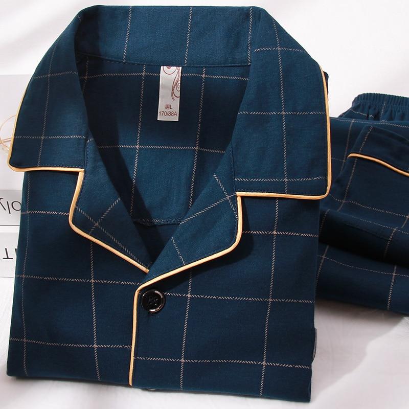 Plaid Cotton Pajamas for Men Long Sleeves Winter Pijama Hombre Button-Down Sleepwear PJ Cotton Nightwear Pyjama Homme Plus Size