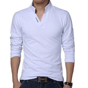 2020 T-Shirt Men Spring Cotton T Shirt Men Solid Color Tshirt Mandarin Collar Long Sleeve Top Men Brand Slim Fit Tee Shirts 5XL