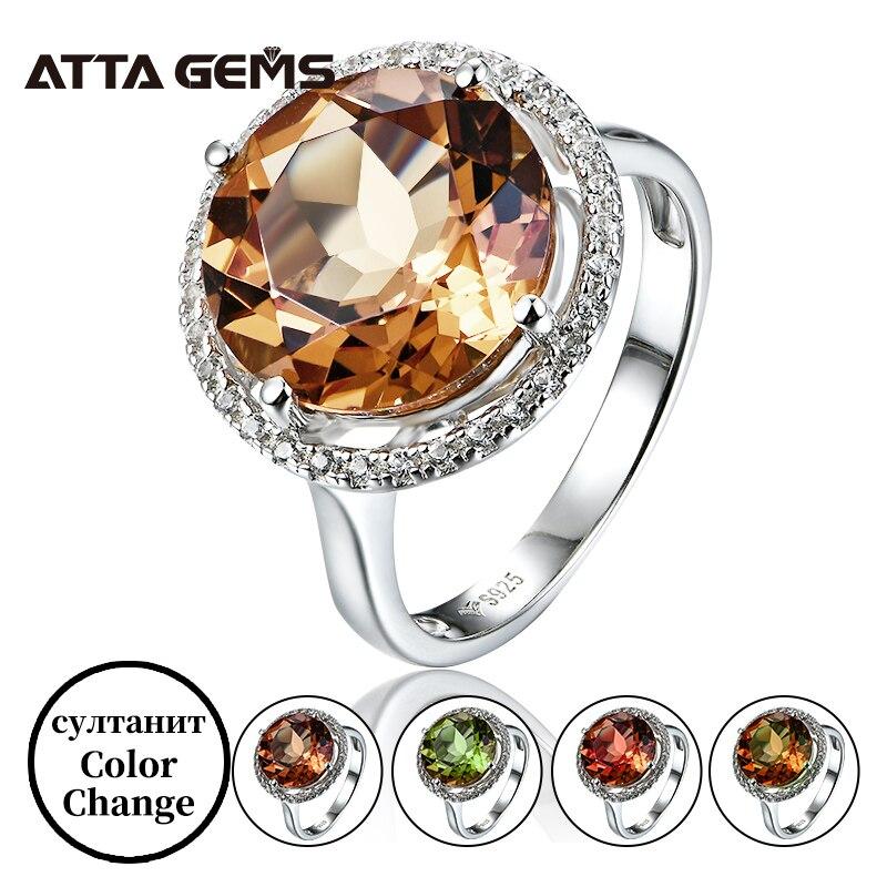 Zultanite 925 فضة خواتم للنساء الزفاف المشاركة 8.6 قيراط خلق diasig اللون تغيير حجر غرامة مجوهرات