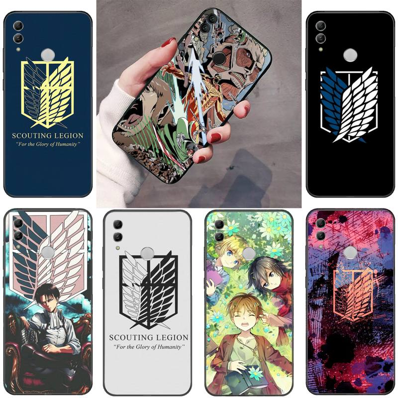 Ataque no titan japão anime bling bonito caso de telefone para huawei p9 p10 p20 p30 pro lite companheiro inteligente 10 lite 20 y5 y6 y7 2018 2019