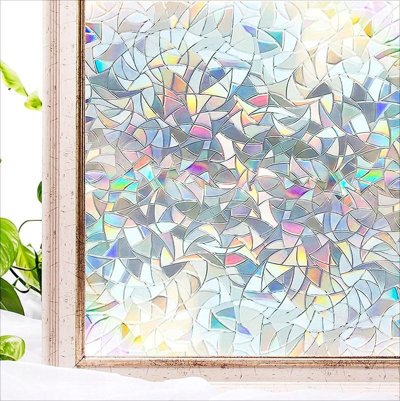 Pegatina de vidrio decorativo de privacidad, pegatina de efecto arcoiris, película de vinilo adhesiva de transferencia de calor en ventanas extraíbles
