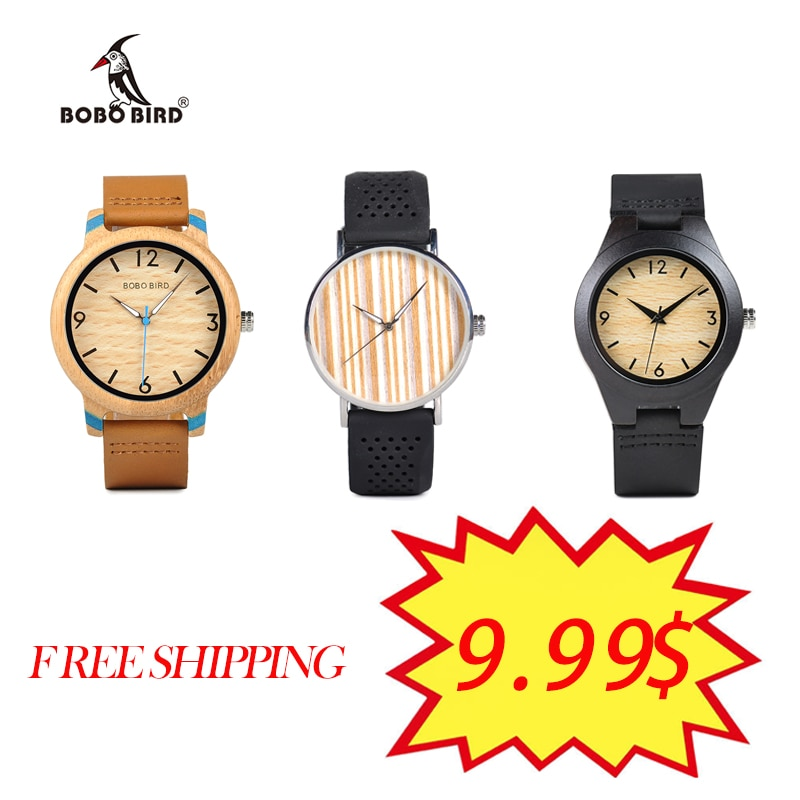 Big Sale BOBO BIRD Women Men's Watches Leather Strap Watch Quartz Wristwatch Fashion Style Clock Relogio Masculino Reloj Hombre