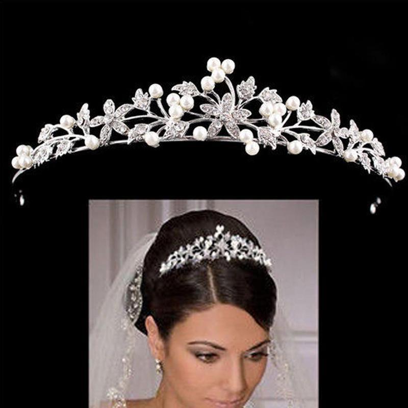 Rhinestone Pearl Bridal Crown Headband Headdress, Wedding Crown, Ladies Hair Accessories, Accessories
