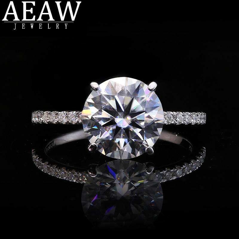 Promo Real Solid 14k White Gold Ring Four Prong 2Ct Round cut Moissanite Diamond Wedding Engagement Rings For Women Fine Jewelry gift