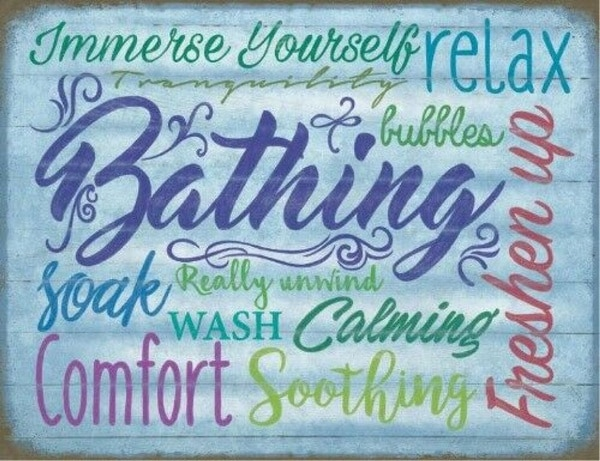 Vintage Bathing Relax Immerse Yourself Soak Wash Metal Tin Sign 8x12 Inch Retro Home Kitchen Cafe Office Wall Decor
