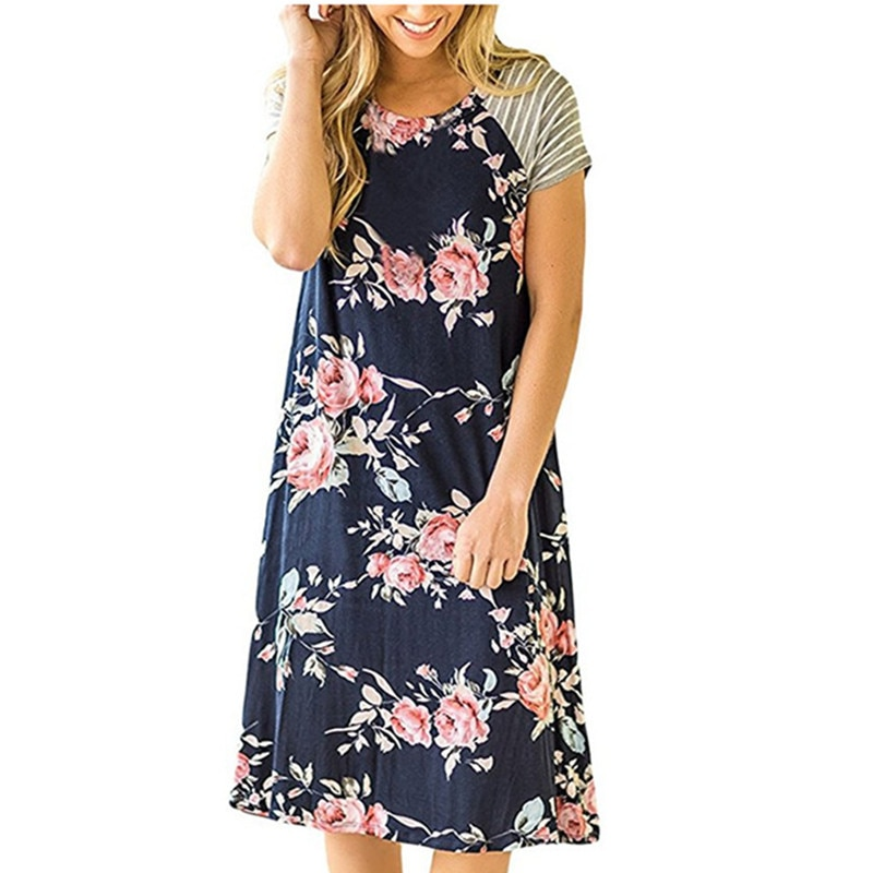 Short sleeve round neck digital print dress