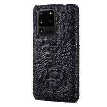 LANGSIDI étui de téléphone Crocodile de luxe pour samsung galaxy s20 ultra s20 + coque en cuir véritable pour Galaxy s10 plus note 10