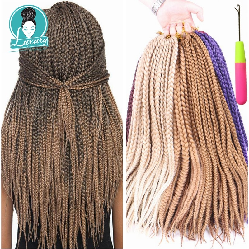 Luxury For Braiding  Syntheic Hair Ombre Burgundy Brown Blonde 24 1cm width 12roots/pack 110g Jumbo Crochet Box Braids