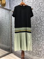 new korean dress 2021 summer high quality casual clothing women o neck color block patchwork short sleeve long t shirt dress