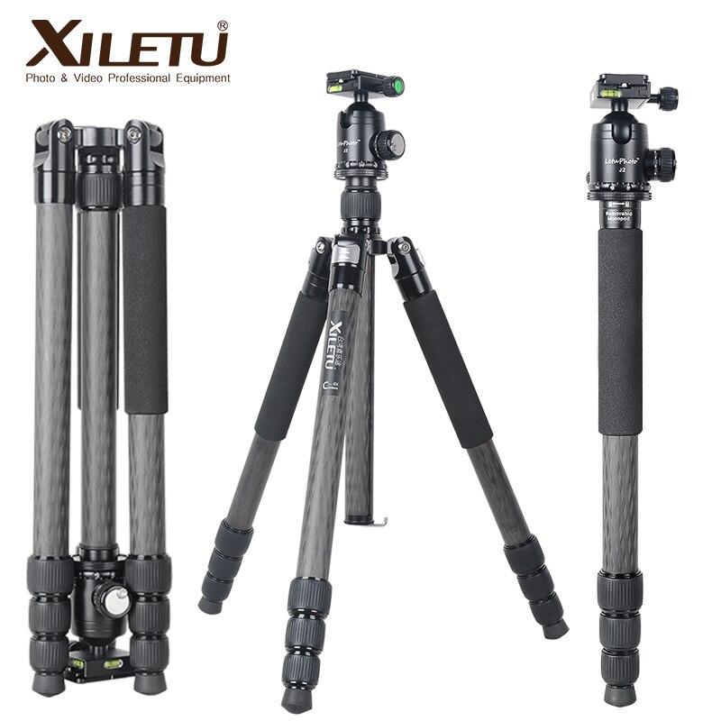 XILETU-حامل ثلاثي احترافي من ألياف الكربون L334CJ2 ، حامل أحادي ، رأس كروي للكاميرا الرقمية DSLR ، ضوء عالي الجودة