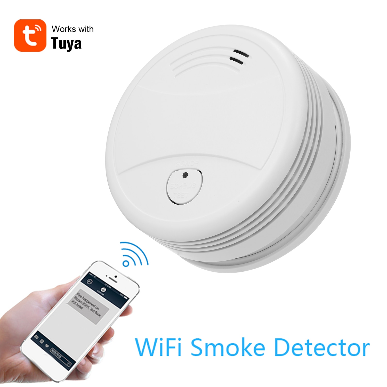 Wi fi inteligente estroboscópio detector de fumaça sem fio sensor de alarme de incêndio tuya app controle escritório casa sistema de alarme de fumaça dispositivo