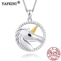 yafeini 925 sterling silver unicorn pendants necklaces 925 silver chains womans jewelry necklaces girls gifts graduation gifts