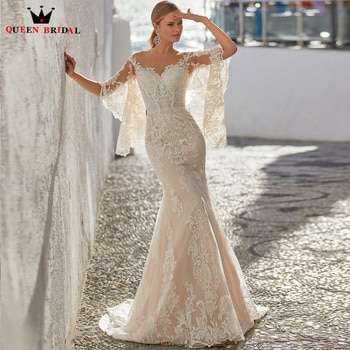 Elegant Mermaid Wedding Dresses Floor Length Lace up Back Tulle Lace Appliques Bridal Gown 2022 New Design Custom Made DS74