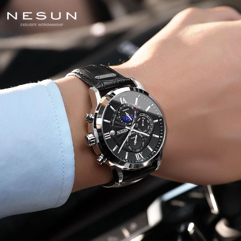 Switzerland Men Sports Watches Nesun Automatic Mechanical Top Brand Luxury Big Fashion Leather Mens Wristwatch Relogio Masculino