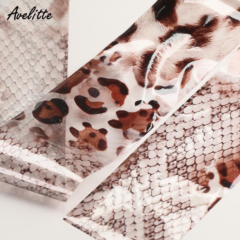 Avelitte Ins Net papel de transferencia astringente rojo estampado de leopardo de moda Halo Gradient Transfer Paper Nail Accessories