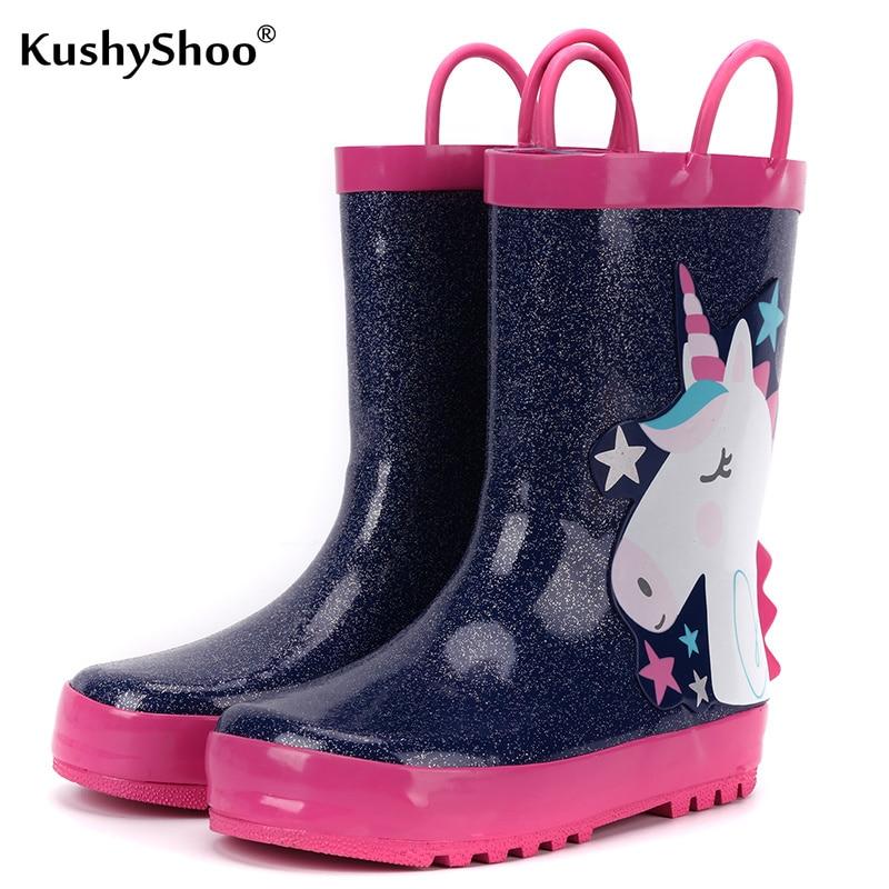 KushyShoo, Botas de lluvia para niños, Botas de lluvia con estrellas de unicornio 3D, botas de agua para niños, botas impermeables para niño niña, botas de diseño de goma
