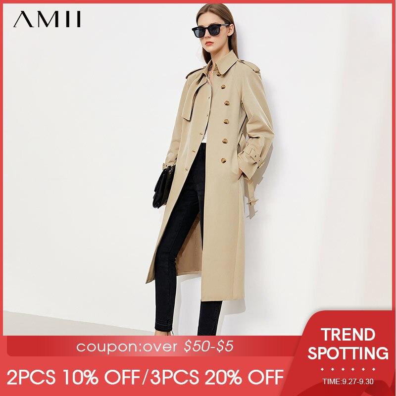 Amii بساطتها الخريف خندق معطف للنساء موضة غير النظامية أزرار وشاح طويل جاكيتات أنيقة سترة واقية أبلى 12170011