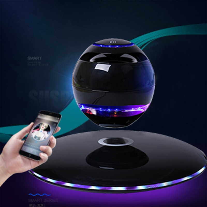 Nuevo altavoz magnético 3D con Bluetooth, levitación, rotación con LED de colores, soporte para teléfonos IOS y Android, llamadas manos libres, negro, EU