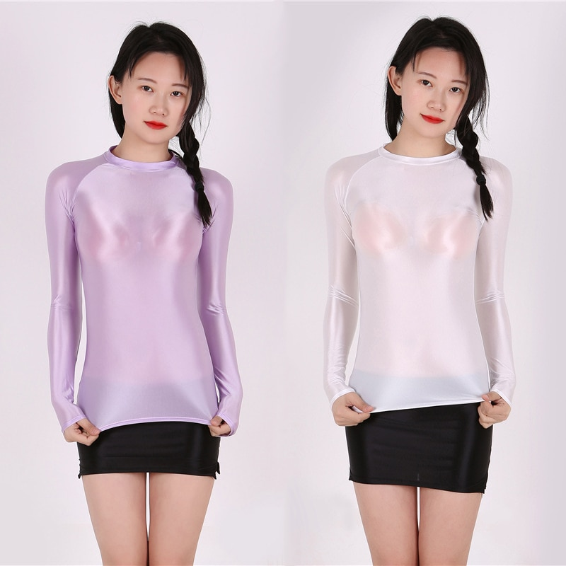 DROZENO Oily and silky tights, glossy transparent bottoming clothes, thin liquid clothes, elastic bo