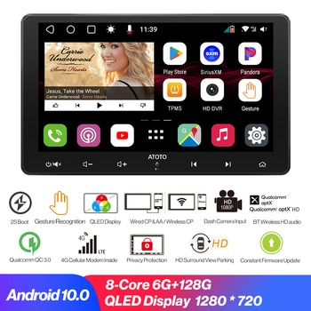 2 Din Car Player Android 10.0 Car Radio Bluetooth-compatible Carplay GPS Navigation Live Rear View Multimedia Video Player 128G