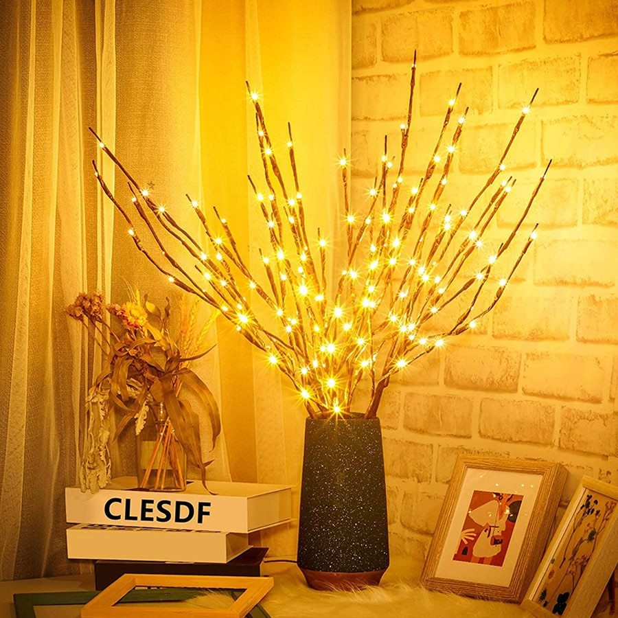 diy led rosa flor salgueiro ramo lampada 20 lampadas artificial salgueiro galho floral