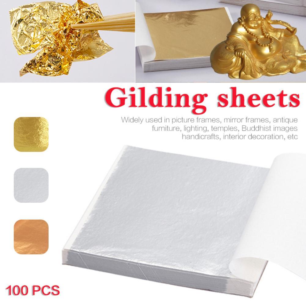 Листы из золотой и серебряной фольги 100 шт., листы для золочения, художественных промыслов «сделай сам», декоративные принадлежности для обе...