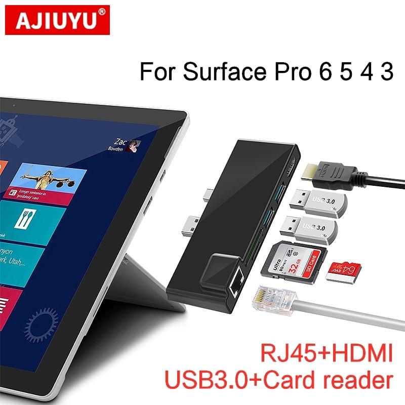 AJIUYU-USB 3.0 Hub لجهاز Microsoft Surface Pro 3 4 5 6 ، قارئ بطاقات SD/TF ، micro SD ، محول جيجابت إيثرنت