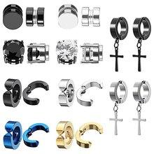 2pcs Punk Mens Strong Magnet Magnetic Ear Stud Set Non Piercing Earrings Fake Cross Earrings Gift fo