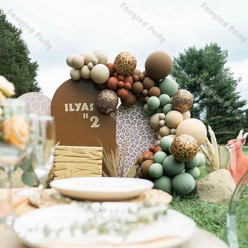 Decoração do Aniversário Chá de Fraldas Sálvia Balões Verdes Garland Café Dobrado Damasco Arco Kit Padrão Animal Aniversário Casamento 101 Pçs