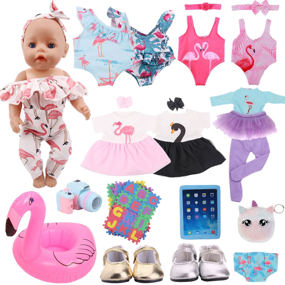 Doll Clothes Flamingo Dress Shoes Accessories For 43Cm Born Baby Fit 18 Inch American&43Cm Baby New Born Doll Reborn Girl`s Toy недорого