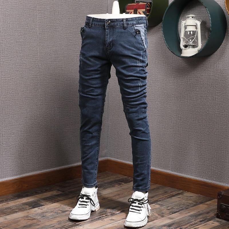 Уличные модные мужские джинсы в стиле ретро синие Эластичные зауженные рваные джинсы мужские винтажные Дизайнерские повседневные брюки-ка...