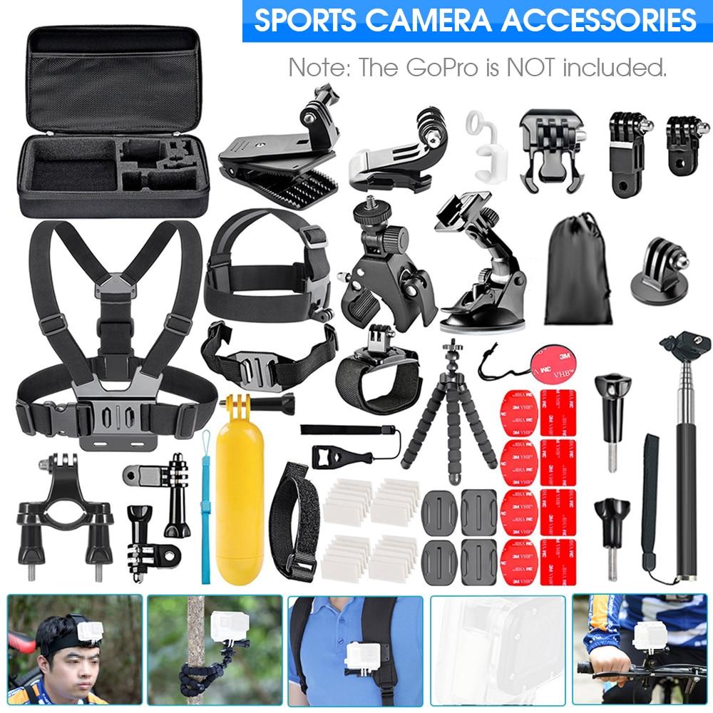 طقم ملحقات الكاميرا Travor لكاميرا GoPro Hero 9 8 7 6 5 4 أسود Mount Yi 4k Mijia Case Sjcam طقم ملحقات كاميرا الحركة