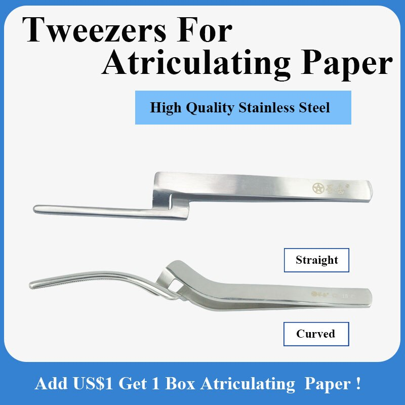 1 Pieces Dental Atriculating Paper Holder Stainless Steel And Uncoated, Straight/Curved Tweezers
