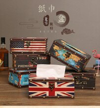 American style home tissue box retro leather dispenser box holder desktop coffee shop decorate Paper towel napkin storage box