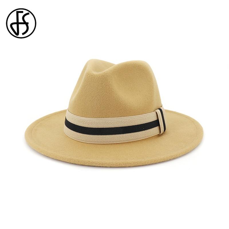 FS mujeres hombres amarillo Rosa lana Jazz sombrero rojo Invierno Caliente Bowler Fedora gorras para damas llanura ala ancha sombrero Trilby con cinta