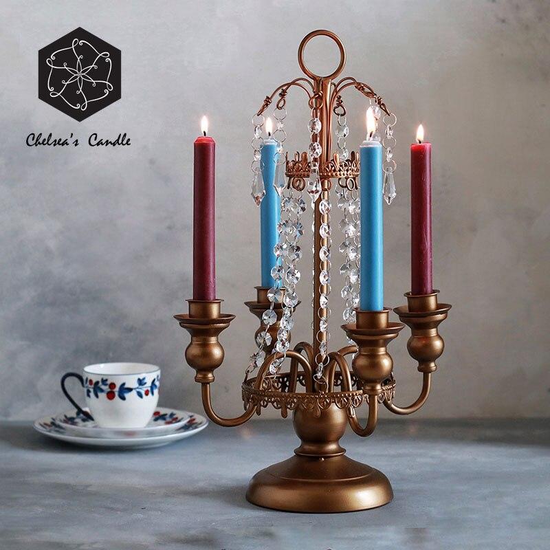 Candelero nórdico de Cristal Vintage, candelabro de Metal romántico, candelabro creativo para sala de estar, decoración de Cristal para comedor MM60ZT