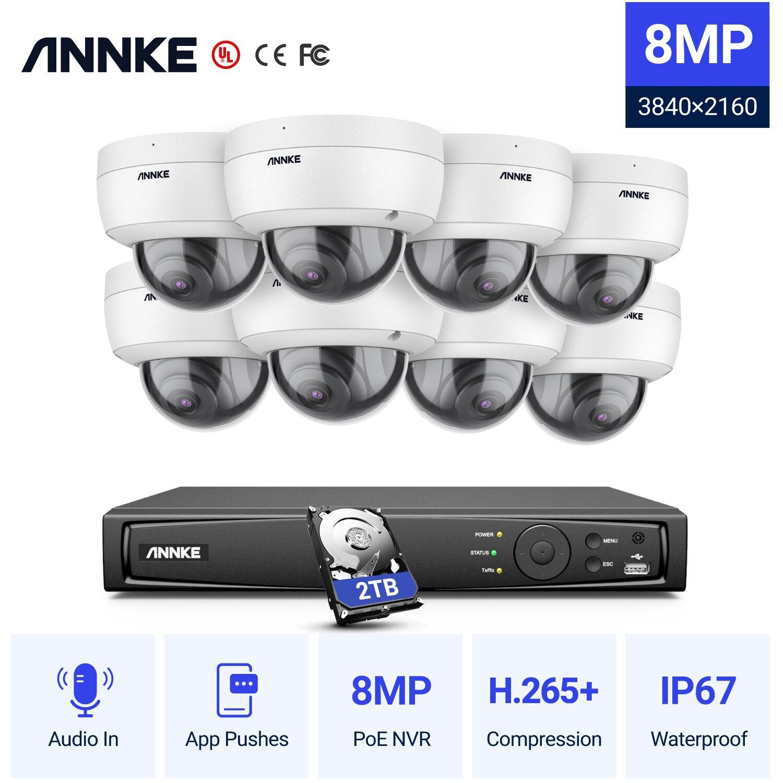 Anke 8CH 4K الترا HD POE شبكة نظام الأمن الفيديو 8MP H.265 + NVR مع 8 قطعة 8MP مانعة لتسرب الماء IP كاميرا CCTV الأمن