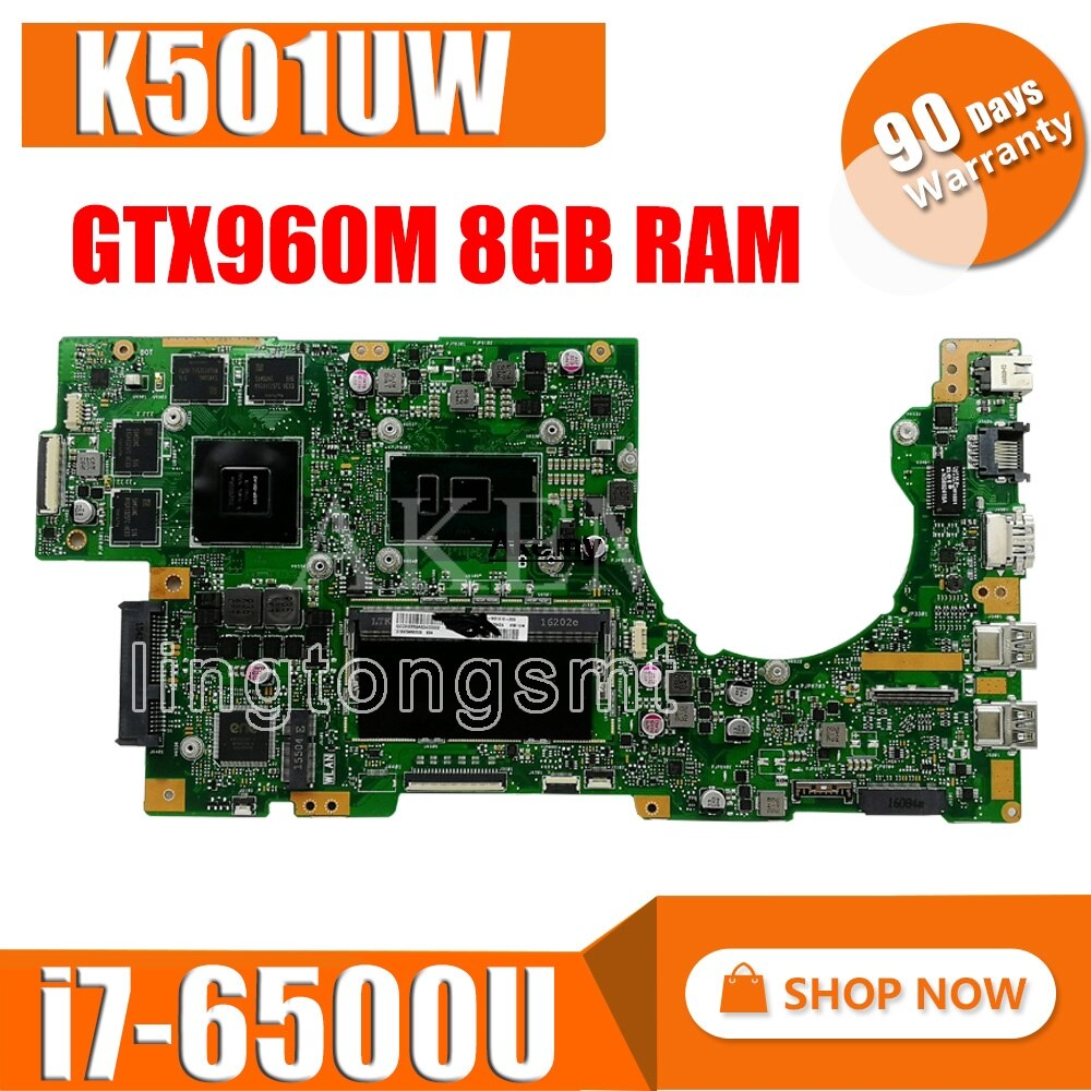 K501UW האם מחשב נייד עבור ASUS K501UXM K501UQ K501U המקורי mainboard DDR4 8G-RAM I7-6500U GTX960M