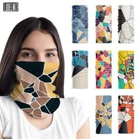 irregular geometric pattern color scarf for women outdoor riding face cover mens bandana dustproof multifunctional hijab scarf