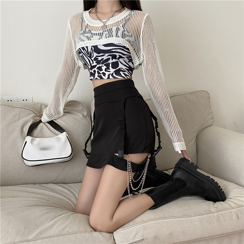 High Street Summer Fashion Skirt Casual Hipster Simple Popular Designer Hollow Out Chain Solid Color Waist Split Fork