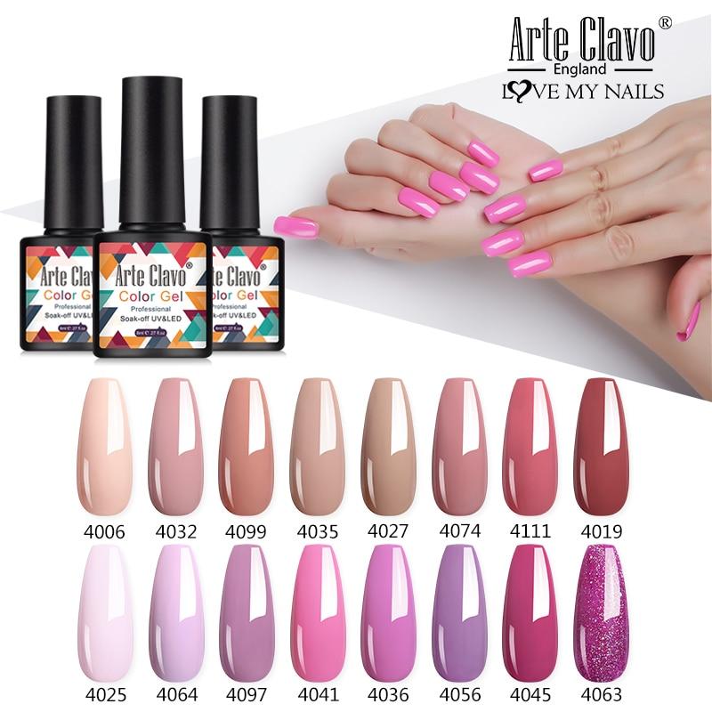 Arte Clavo Summer Hot Sale 8ml Color Gels Nails Polish 211 Colors Soak Off Pure Color UV/LED Gel Nails Art Gel Varnish Lacquers