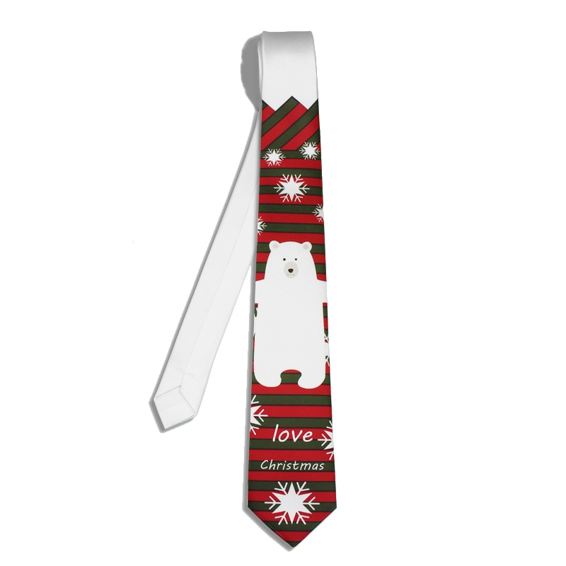 Snow Bear Printed Neck Tie With Gift Box Packing High Quality Branded Slim Casual Tie For Party For Boys Girls Christmas Gifts