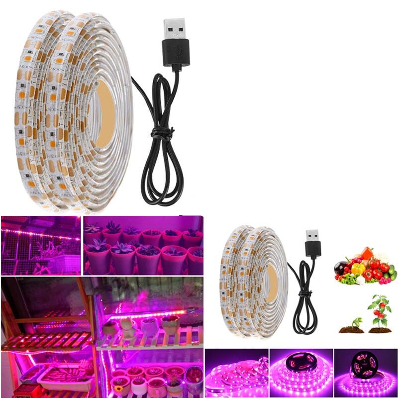 LED Grow Light Full Spectrum USB Grow Light Strip 0.5m 1m 2m 3m 2835 SMD DC5V LED Phyto Tapeled Grow Light for Indoor Plant