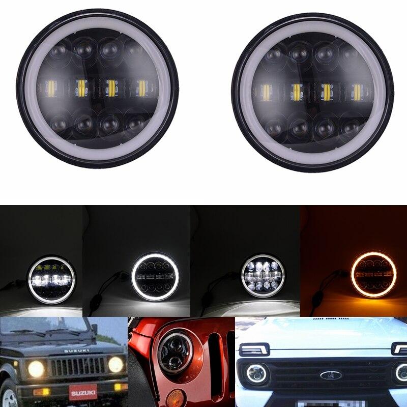 """Faros LED halógenos de 7 """"con H4 para Suzuki Land Rover Defender, faros de 7 pulgadas con intermitente ámbar para Lada Niva urbano"""