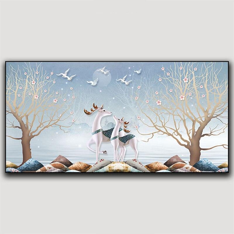 Картина на холсте, настенное искусство, животное с оленем, искусство на холсте, современное искусство, картина на стену для гостиной, Роскош...