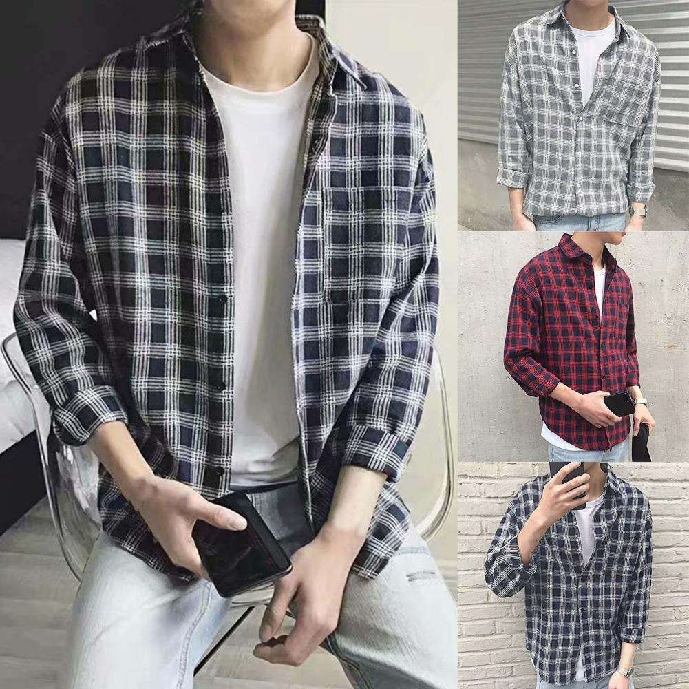 Fashion Men Shirt Single-breasted Turn Down Collar Comfortable Long Sleeve Plaid Pattern Single-breasted Shirt Top for Work zusigel collar white shirt double breasted black shirt mandarin collar shirt for men long sleeve slim fit muslim shirts men